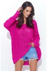 Amarantowy Ażurowy Luźny Sweter z Szerokim Dekoltem