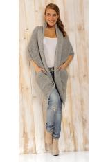 Jasnoszary Sweter - Narzutka z Dużymi Kieszeniami