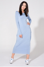 Niebieska Sukienka Dzianinowa Maxi Drapowana na Boku