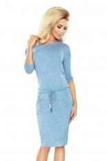 Sukienka Ściągana w Kolorze Jasnego Jeansu