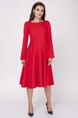 Czerwona Wizytowa Sukienka Midi z Szerokim Dołem
