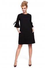 9b6074fd1e Czarna Sukienka Trapezowa z Rozkloszowanymi Rękawami