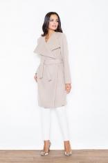 Beżowy Elegancki Płaszcz Oversize Przewiązany Paskiem