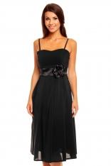 Czarna Koktajlowa Midi Sukienka na Cienkich Ramiączkach z Różą