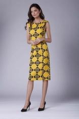 Wizytowa Ołówkowa Sukienka z Zakładką na Ramionach