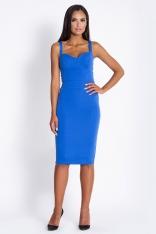 Niebieska Ołówkowa Sukienka do Kolan na Ramiączkach