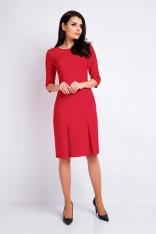 Czerwona Ołówkowa Wizytowa Sukienka z Dołem w Zakładki