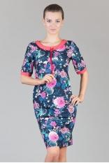 Kwiatowo-koralowa Prosta Dzianinowa Sukienka z Kontrastowymi Mankietami
