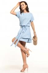 Jasnoniebieska Kobieca Sukienka z Podwójną Spódnicą