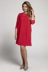 Czerwona Trapezowa Sukienka Wizytowa z Koronką PLUS SIZE