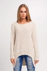 Akrylowy Beżowy Sweter z Dłuższym Tyłem