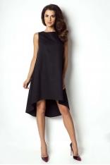 Czarna Sukienka Asymetryczna Bez Rękawków