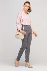 Grafitowe Eleganckie Spodnie z Podwyższonym Stanem