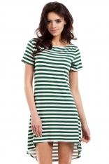 Zielona Letnia Asymetryczna Sukienka z Krótkim Rękawem