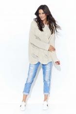Beżowy Klasyczny Sweter w Łódkę z Ażurowym Przodem