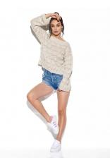 Luźny Sweter z Rozkloszowanym Rękawem - Beżowy