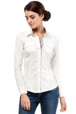 Ecru Klasyczna Koszula z Długim Rękawem z Kontrastową Plisą