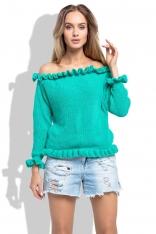 Zielony Sweter z Dekoltem Typu Carmen