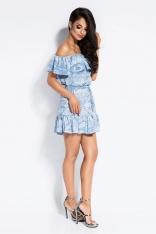 Błękitna Wzorzysta Sukienka z Dekoltem Carmen