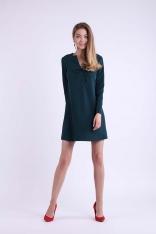 Zielona Trapezowa Krótka Sukienka z Kokardką na Dekolcie