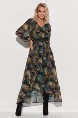 Wzorzysta Sukienka Szyfonowa z Błyszczącą Taśmą - Wzór 3