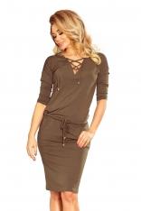 Khaki Dzianinowa Sukienka z Wiązaniem na Dekolcie