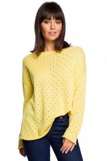 Żółty Luźny Ażurowy Sweter