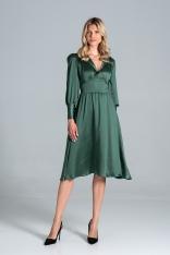 Rozkloszowana Satynowa Sukienka z Długim Bufiastym Rękawem - Zielona