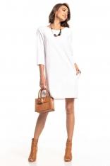 Biała Luźna Sukienka Marszczona na Plecach