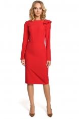 Czerwona Sukienka Elegancka Ołówkowa z Falbankami na Ramieniu