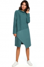 Turkusowa Asymetryczna Sukienka z Golfem