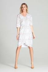 Sukienka Midi z Kopertowym Dołem - Wzór 111