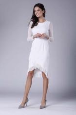 Ecru Wizytowa Sukienka z Kopertowym Dołem z Hiszpańską Falbanką