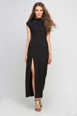 Długa Czarna Sukienka ze Stójką z Rozcięciem na Boku