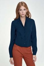 Elegancka Granatowa Koszula z Długim Rękawem
