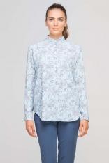 Błękitna Bluzka Koszulowa ze Stójką w Kwiatowy Wzór