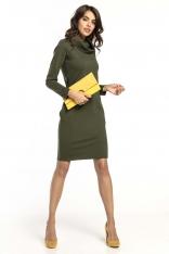 Zielona Krótka Bawełniana Sukienka z Kominem