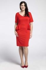 Czerwona Klasyczna Sukienka z Półbaskinką PLUS SIZE