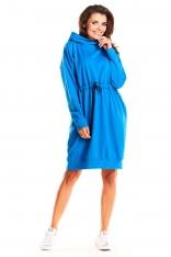 Niebieska Dresowa Wiązana w Pasie Sukienka z Kapturem