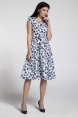 Niebieska Sukienka z Szerokim Dołem z Dekoltem Karo