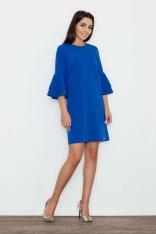 Niebieska Elegancka Sukienka z Hiszpańskim Rękawem