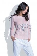 Różowy Klasyczny Sweter z Ozdobnymi Kokardkami