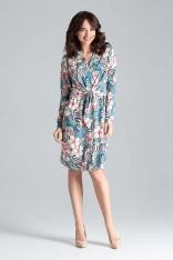 Koszulowa Sukienka z Wiązaniem w Pasie - Wzór 104