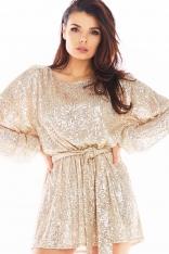 Luźna Mini Sukienka w Stylu Glamour - Beżowa
