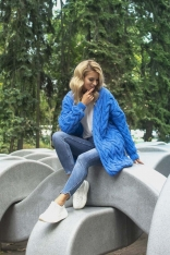 Niebieski Niezapinany Długi Kardigan w Warkocze