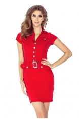 Czerwona Sukienka Szmizjerka z Dużymi Guzikami i Paskiem