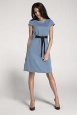 Dzianinowa Niebieska Sukienka o Kroju Litery A z Wbudowanym Paskiem