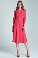 Fuksja Kobieca Rozkloszowana Sukienka Midi z Pęknięciem przy Dekolcie