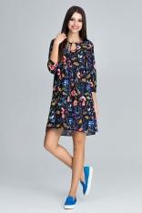 Urocza Sukienka w Barwny Deseń z Falbankami - Wzór 77