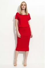 Czerwona Sukienka Midi z Gumką w Talii